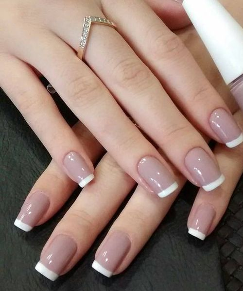Wedding Ideas For Summer: Most Loved White Tips On Light Pink Nail Designs For