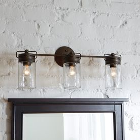allen + roth 3-Light Vallymede Aged Bronze Bathroom Vanity Light -Model # B10019, $79.00 - Lowes.com (half bathroom)