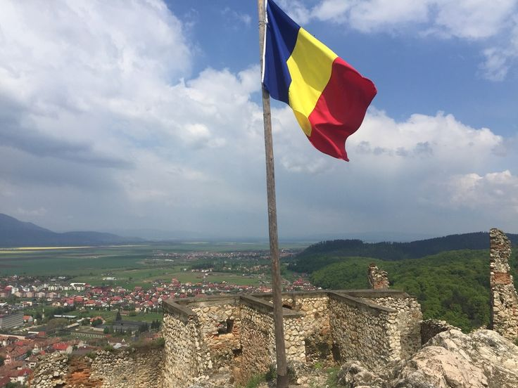 Romanian flag proudly perched up on the highest point inside