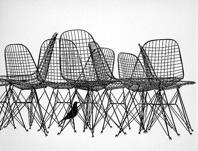 Ad for Wire Chairs with Bird Sculpture,  circa 1952, shot by Ray Eames.