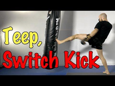 Muay Thai Kick Combo - Front Teep, Switch Roundhouse Kick - YouTube