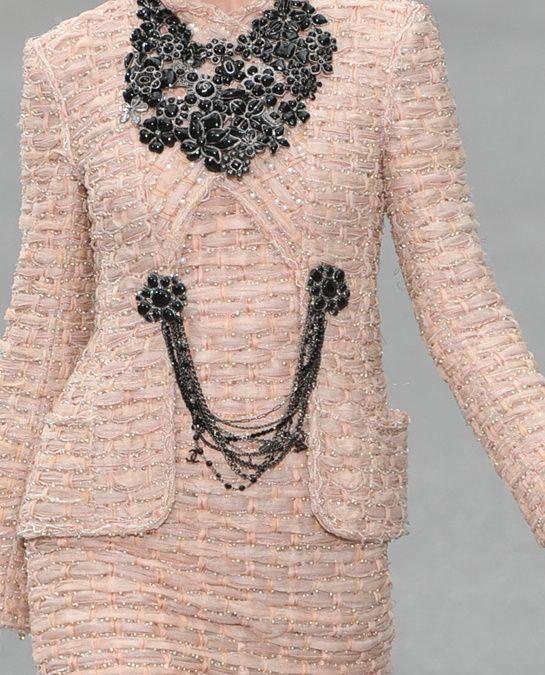 Chanel tweed in blush.
