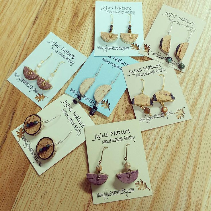 Restocking my shelves with new recycled wine cork earrings!