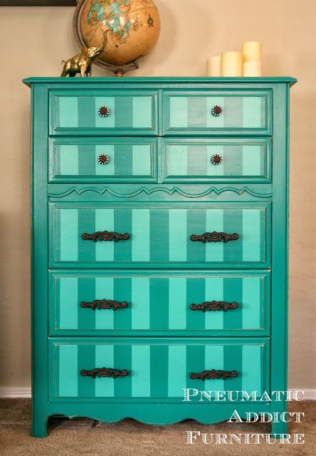 Bold Make-Over: Striped Teal Chest of Drawers- www.pneumaticaddict.com