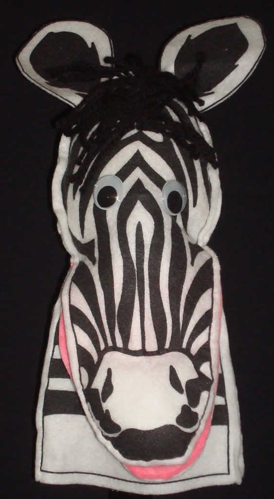Zebra Moving Mouth Hand Puppet