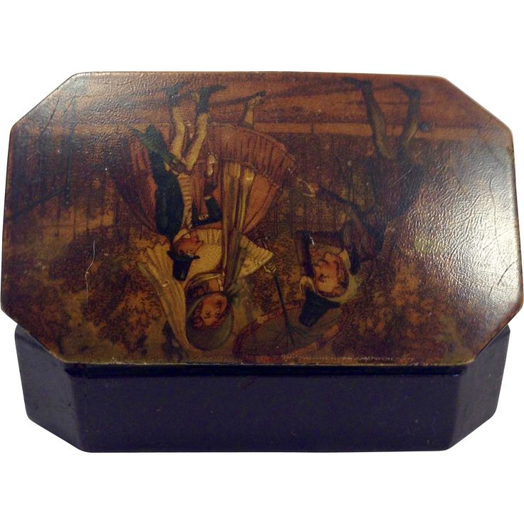 RARE English Early 19th Century Hand Painted Papier-mâché Snuff Box, ode to Tobias Smollett (c.1721-c.1771)