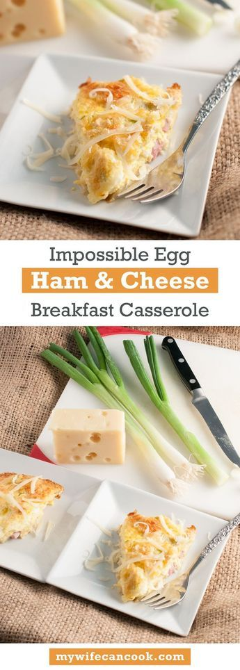 One of our favorite make ahead breakfasts is this cheese and egg breakfast casserole with Ham, often referred to as Ham and Swiss Impossible Pie or Bisquick Impossible Pie. Sub in any kind of cheese you like and the bisquick can be replaced with flour, butter, and baking soda. Or leave out the ham if you want a vegetarian breakfast casserole. We like to make it with ham, swiss cheese and green onions and it's a super easy breakfast casserole that can be enjoyed the whole week.