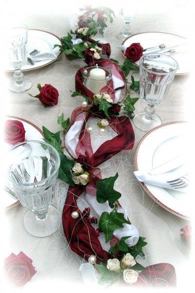 1,2m Gesteck bordeaux-creme Hochzeit Kommunion Konfirmation Taufe Tischdeko