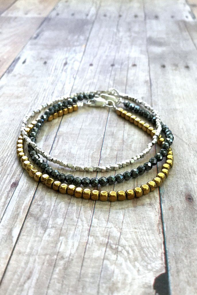 Sterling Silver Gold Bracelet Set, Hematite Jewelry, Tiny Hill Tribe Silver Bead Bracelet