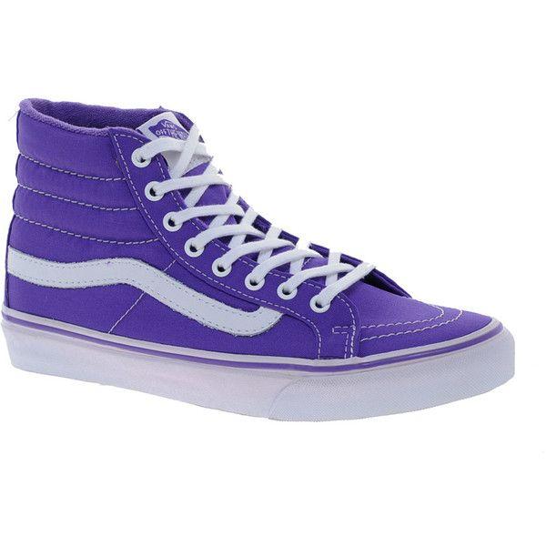 Vans SK8 Hi Slim Purple Trainers ($49) ❤ liked on Polyvore featuring shoes, sneakers, purple, vans, purple high tops, lace up sneakers, vans high tops, lace up high top sneakers and lightweight shoes