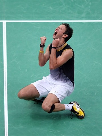 Kevin Cordon of Guatemala celebrates winning during his men's Singles Badminton. Olympics #Olympics