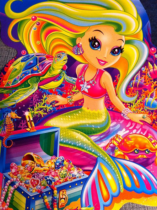LISA FRANK MERMAID. i have a temp tattoo of this...and its glittery. im saving it for a special event......