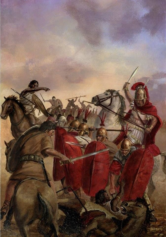 Republican legionaries vs. Numidians-  SOUMISSION DE LA GAULE BELGIQUE, 57 av JC, 1°: Campagne contre les Belges,14: Le proconsul rejoint alors TITURIUS SABINUS de nuit, avec toute sa cavalerie ainsi que les NUMIDES, les ARCHERS CRETOIS et les FRONDEURS BALEARES, et prend par surprise une troupe belge essayant de traverser la rivière. Suite à ces pertes, à l'impossibilité de s'emparer du fort de Titurius Sabinus, ou à couper le ravitaillement, les Belges décident de se retirer sur leurs…