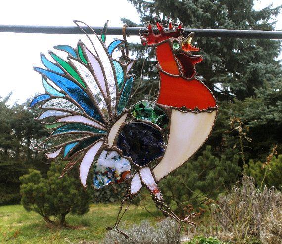 Grote pik / Hor / garden plug / Tiffanytechnik / gekleurd glas en gekleurd glas