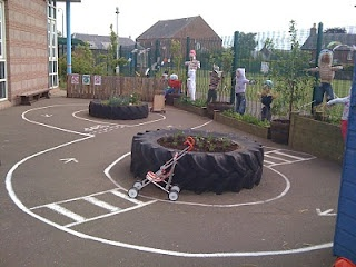 Little boys love tractors and I love this reuse of old tractor tyres to create a learning environment. We have one in our garden; add some play bark, dumper trucks and the boys and bugs come for the party! Makes a surprisingly good garden seat too!