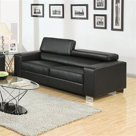 Furniture Of America Makri Black Faux Leather Sofa Cm6336bk-S