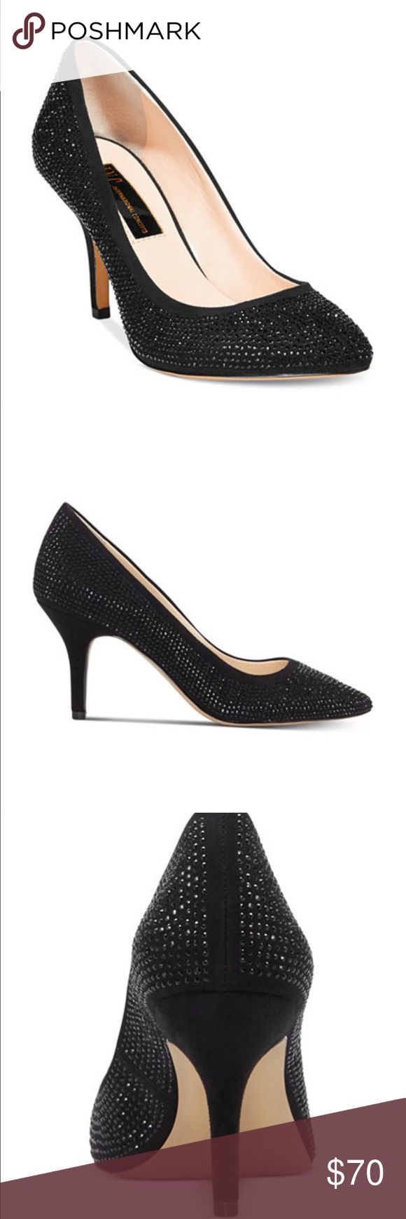 """INC Zitah Pointed Rhinestone Sparkly Black Heels Worn twice! Perfect for prom. Short heel (3""""). Very comfortable and fit wide feet (not extra wide). INC International Concepts Shoes Heels"""