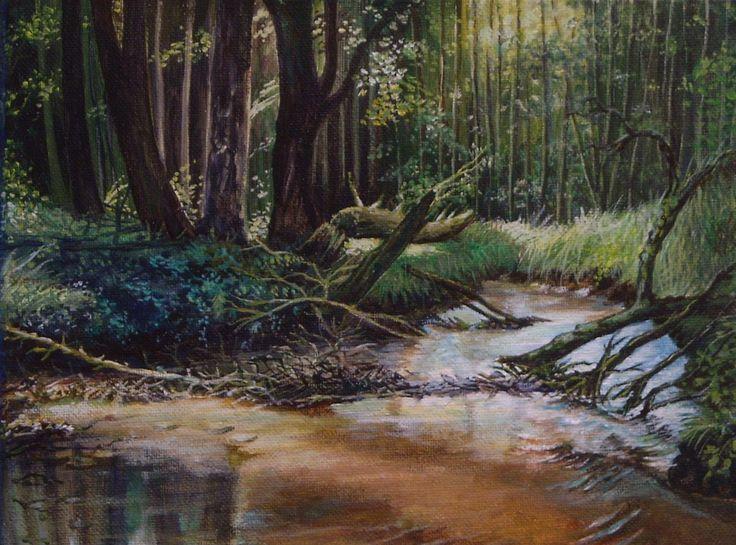Lesní potok - plátno 30 x 24 cm - akryl / olej.