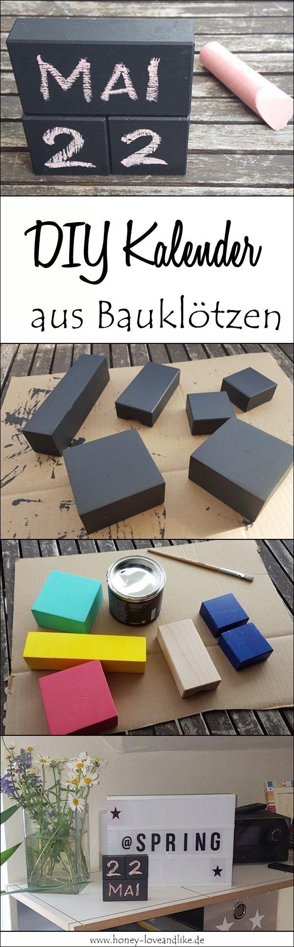 Cooles Upcycling: DIY Kalender mit Tafelfarbe aus alten Bauklötzen basteln. Auch toll für Kinder, um Zahlen zu üben! Oder als DIY Geschenk