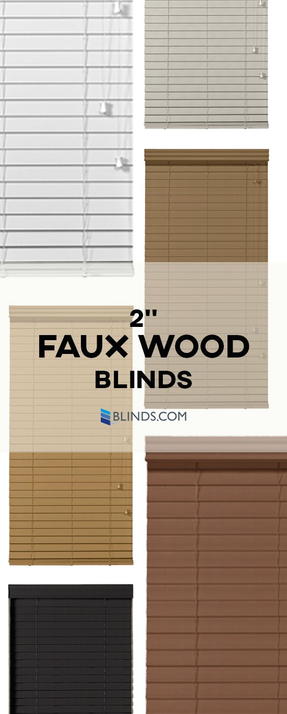 "Get an upscale exterior view for less with 2"" Faux Wood Blinds by Blinds.com, featuring the unique look and style of real wood at an economical price."