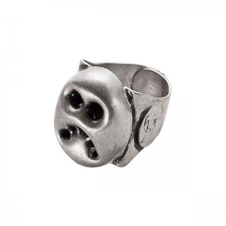 Lacrom - Vittorio Ceccoli Jewelry Design - Munk Ring Adjustable in galvanized brass.