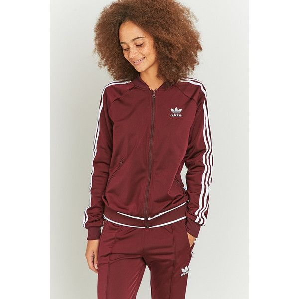 adidas Originals 3 Stripe Maroon Track Jacket ($62) ❤ liked on Polyvore featuring activewear, activewear jackets, maroon, adidas originals, track top, track jacket, warm up jackets and tracksuit jacket