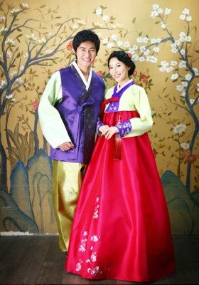 Korea | Traditional wedding attire is called a Hanbok, and for women it consists of the jeogori, or shirt, and a full wrap-around skirt called a chima. Men also wear the jeogori but pair it with pants. Gorgeous colors!
