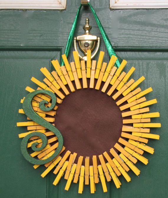 Sunflower Wreath with Monogram Personalized by GlitterGlassAndSass
