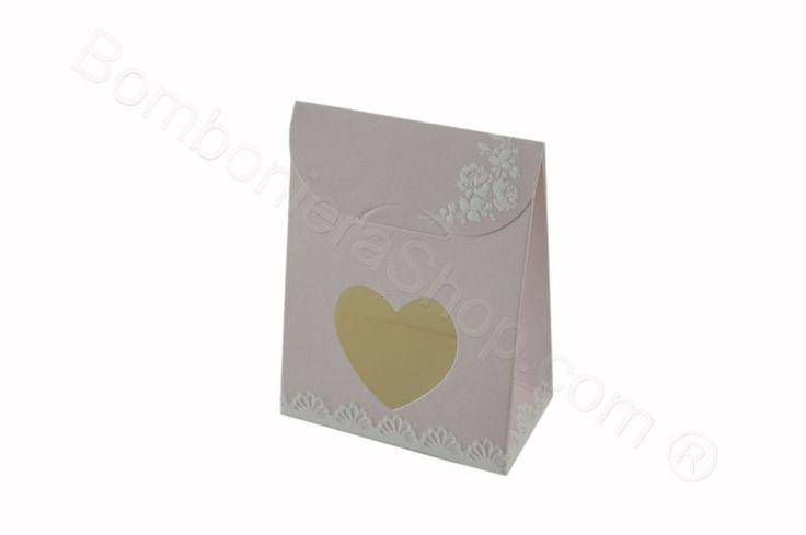 Scatolina bustina rosa cartoncino floreale con cuore per fai da te bomboniera