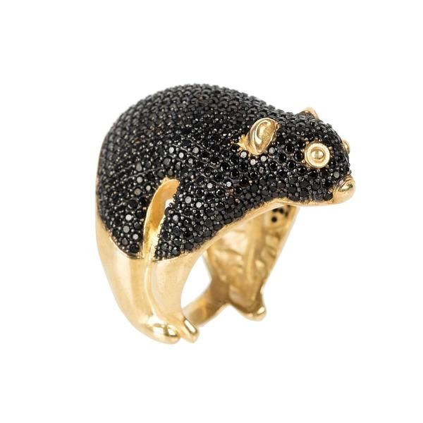 Possum Ring Gold Black Zircon