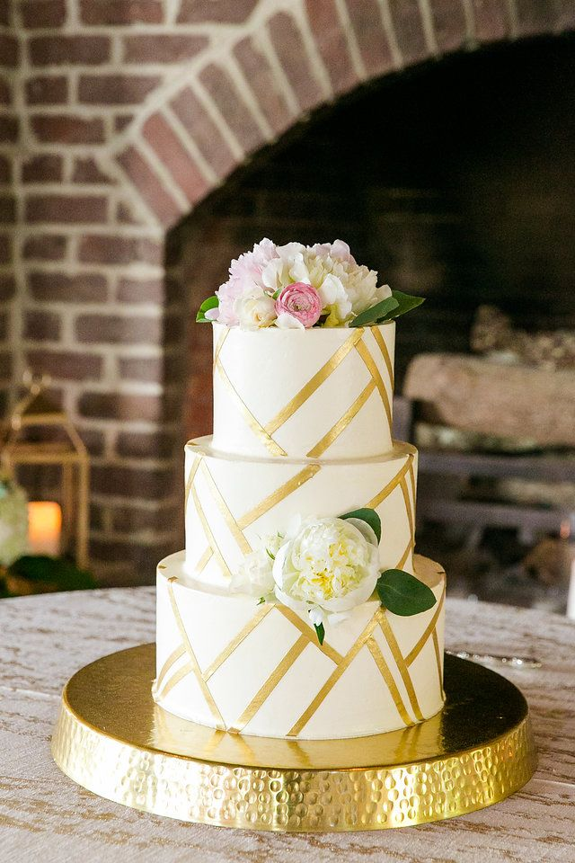 Gold Leaf Striped White Pink Three Tiered Wedding Cake Southern Modern Boone Hall Wedding Dana Cubbage Weddings Cha Tiered Wedding Cake Cute Cakes Cake