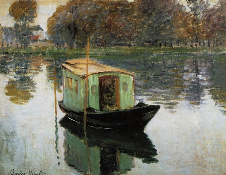 Monet's floating studio: Museums, Houseboats, Claude Monet, Studios Boats, Art, Claudemonet, 1874, Paintings, Oil
