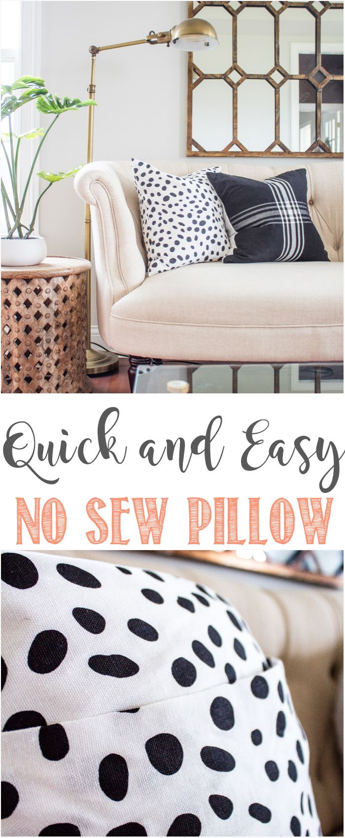 No Sew Pillow Cover. Quick And Easy No Sew Pillow Using Fabric Glue