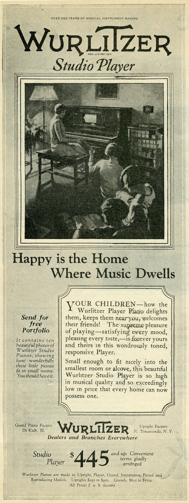 "1927 Wurlitzer piano Ad ""Happy is the Home where Music Dwells"""