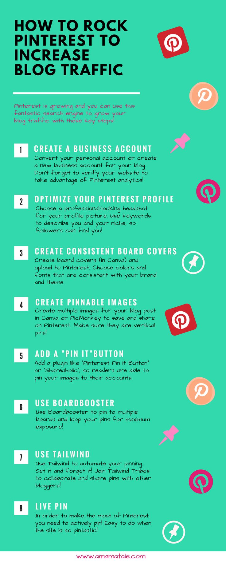 How to Rock Pinterest to Increase Blog Traffic Pinterest tips and tricks to boost your blog traffic! How to use Pinterest if you are a blogger. www.amamatale.com