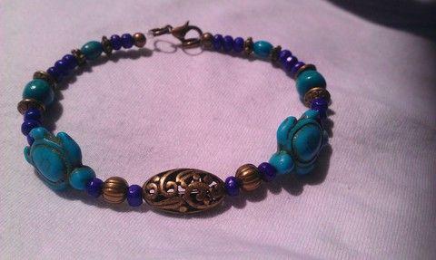 Orient karkötő III. (lila és kék fa- kék kő és rézgyöngyökkel), Ékszer, óra, Karkötő, Meska