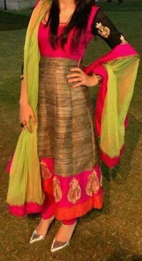 silk anarkali!!! superb!! This is so different and colorful!! rich look!