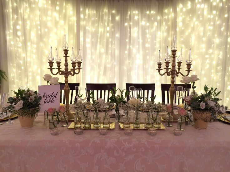 Fairy light back drop at main table - Bon Cap weddings