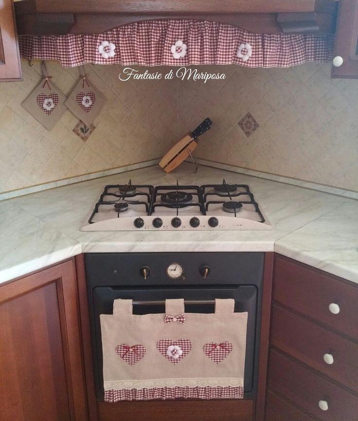 Set cucina copriforno, riccio per cappa, presine
