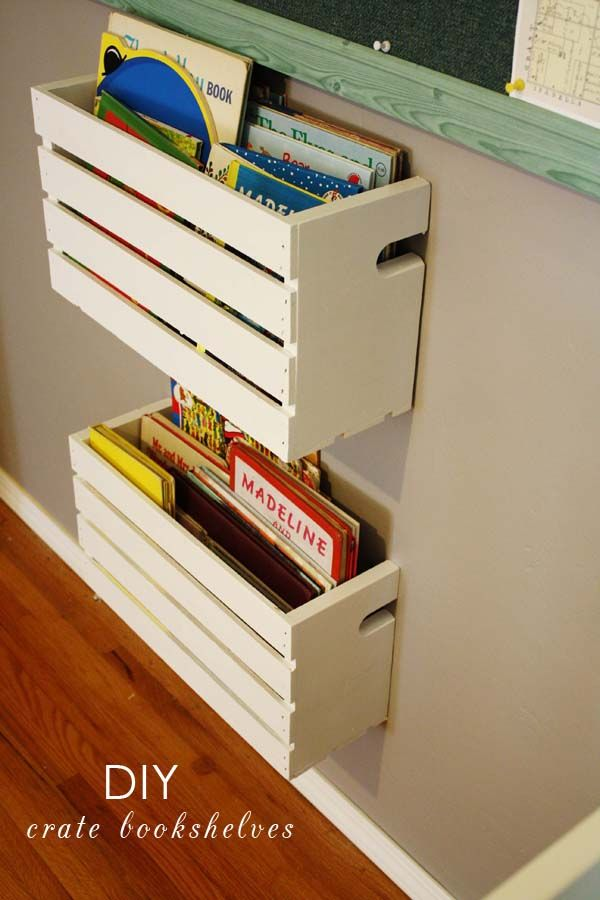 DIY TURN CRATES INTO BOOK SHELVES. WOULD ALSO WORK IN KITCHEN TO HOLD CUTTING BOARDS, POT LIDS, COOKBOOKS, ETC.