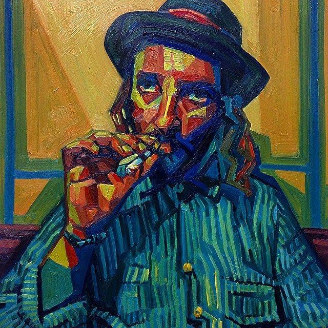 Warren by Paige Emery #fauvism #cubism #portrait #cigarette #oilpainting #shapes #colors