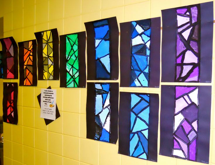 Monochromatic Paintings--could try to paint on thin paper, or markers on wax paper, and talk about stained glass