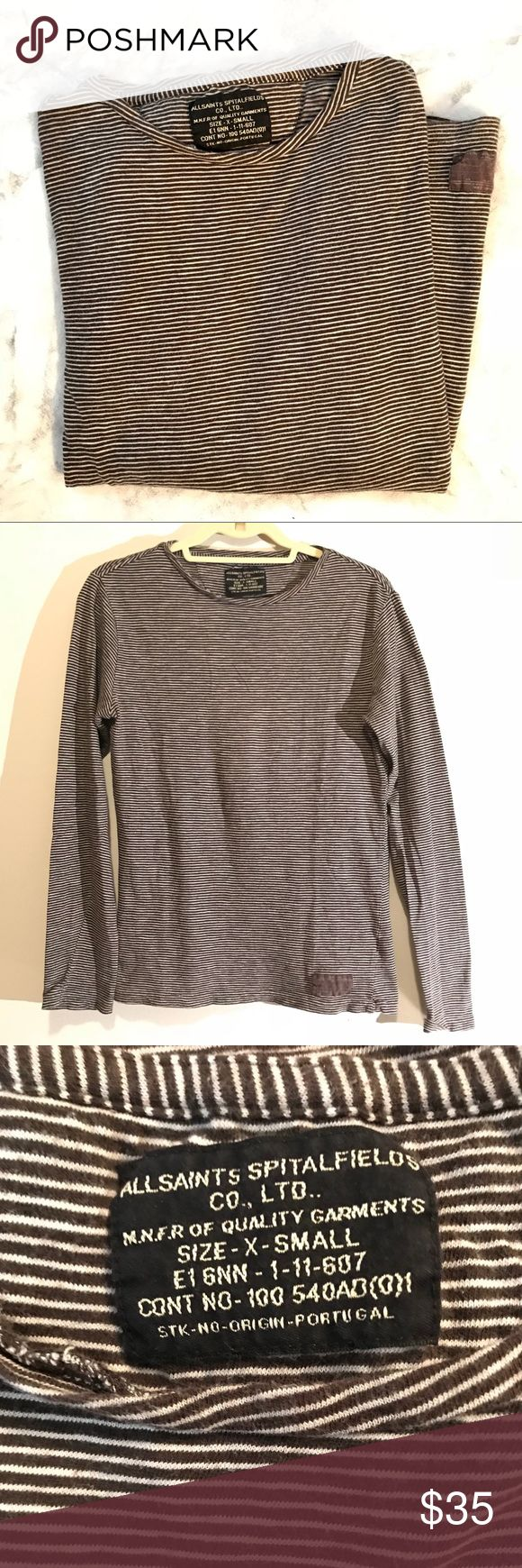AllSaints Long Sleeve All Saints Spitalfields — Long Sleeve Tee — Brown/Cream Stripes — Excellent Condition, extremely comfortable — Size: Extra Small (Runs large) All Saints Tops Tees - Long Sleeve