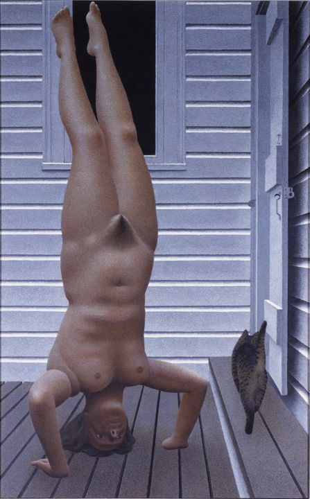 alex colville - headstand (1982), acrylic polymer emulsion on masonite (art gallery of nova scotia)