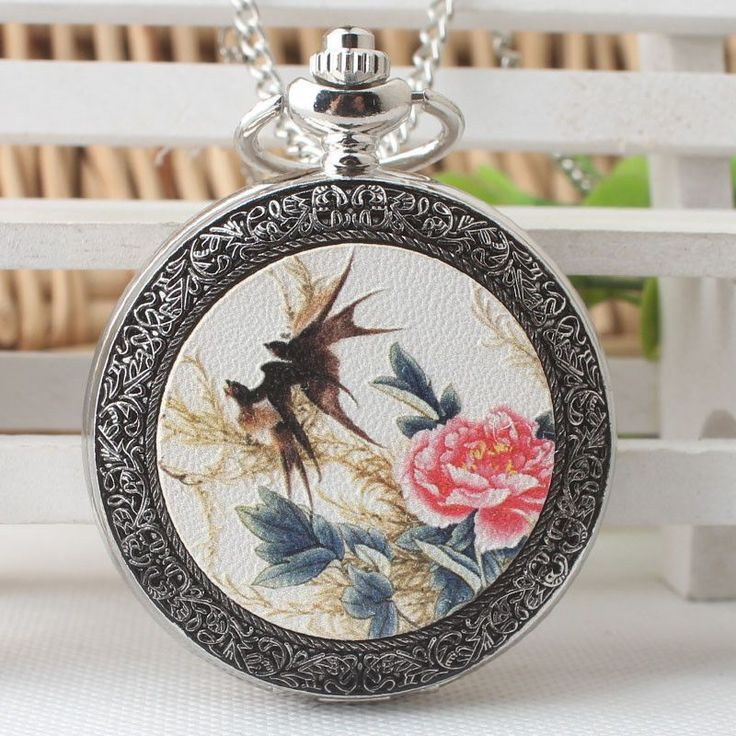 Chinese style Retro Classic quartz pocket Watch Swallow Return Watch Old silver flip quartz watch DS308