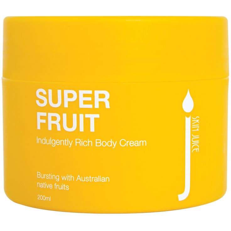 Super Fruit Indulgently Rich Body Cream $33.50 Bursting with Australian native fruits, this scrumptious and luxurious body spread unleashes essential fatty acid rich butters to comfort skin types looking for deep nourishment.   Experience deliciously fresh, sweet and crisp aromas.