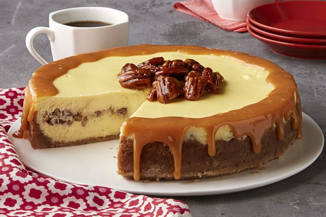 Our cheesecake recipes are always a hit, so here is one more cheesecake that's sure to become a new family favourite.  Made with pecan shortbread cookies, sugared nuts and creamy caramel, this Butter Pecan Cheesecake is a showstopper!