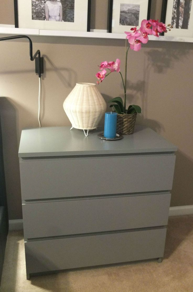Malm 3 drawer chest gray for Bed on top of dresser