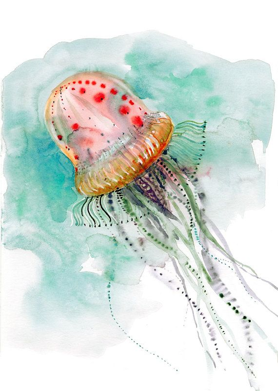 Jellyfish Print Deep Sea Creatures Underwater World Watercolor