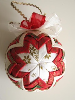 Quilt ornament tutorial ~ This tutorial is in Polish, but the pictures are clear! Some creative folding, pins, scraps and a styrofoam ball is all this beautiful ornament takes! Great for gifts or a project with the kids! The possibilities are endless with thousands of fabrics to choose from at the Fabric Shack at http://www.fabricshack.com/cgi-bin/Store/store.cgi